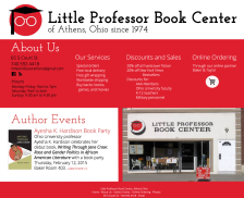 Website mockup. Images (c) Little Professor Book Center and Ohio University Press. Designed in Photoshop.